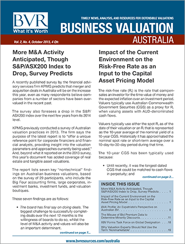 Business Valuation Update Australia