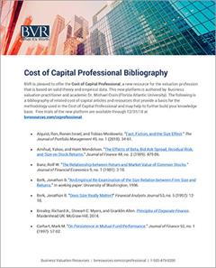 Cost of Capital Professional Bibliography