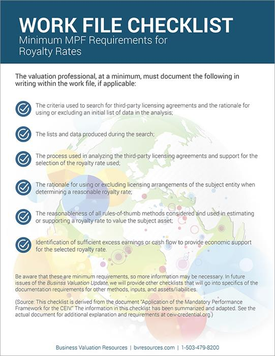 IP Workfile Checklist - Royalty Rates