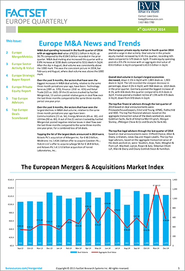 Mergerstat Europe Quarterly Review