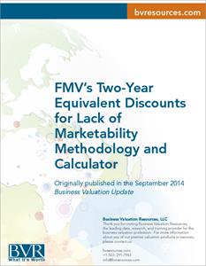 Two-Year Equivalent Discounts for Lack of  Marketability  Methodology and Calculator
