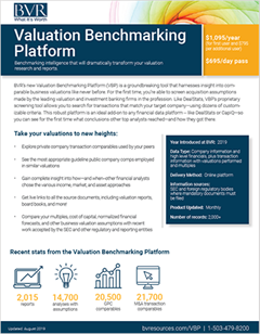 Valuation Benchmarking Platform Spec Sheet Image