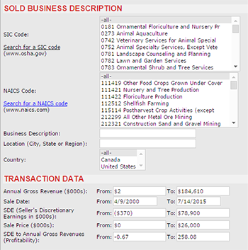 BIZCOMPS database Screen Shot