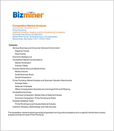 Bizminer Competitive Market Analyzer Sample