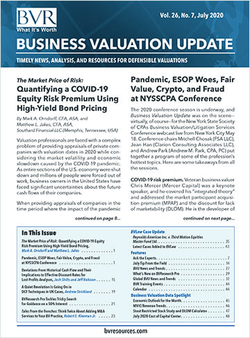 Business Valuation Update - August 2020 Issue