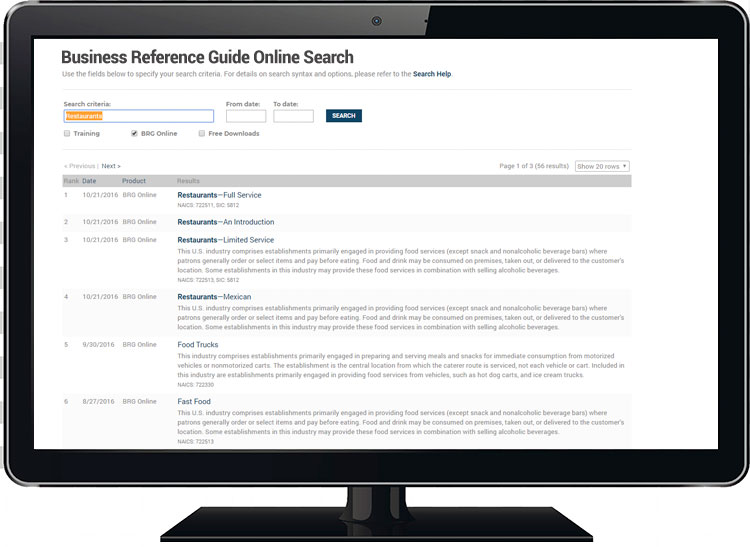 Business Reference Guide Online Screen Shot