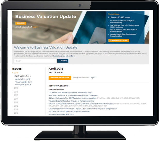 Business Valuation Update Search Screen Shot