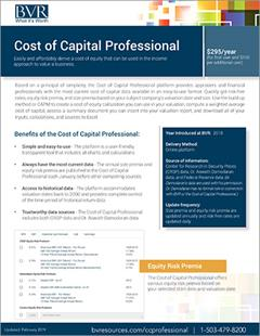 Cost of Capital Pro Spec Sheet Cover
