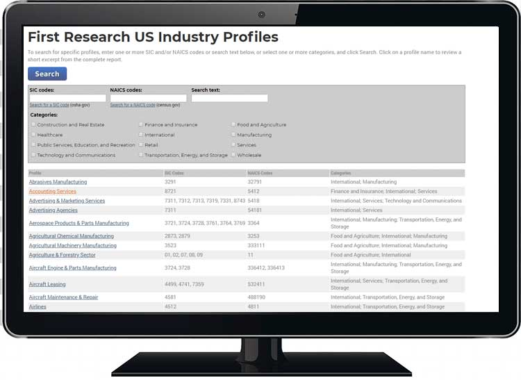 First Research Industry Profiles Screen Shot