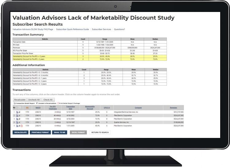 Valuation Advisors Lack of Marketability Discount Study Screen Shot