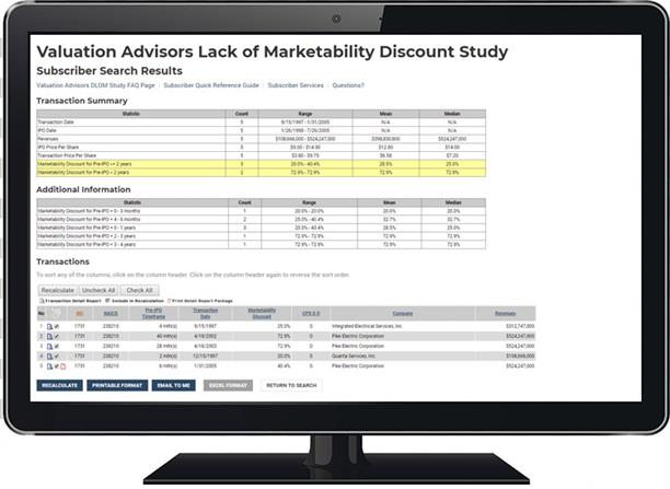 Valuation Advisors Lack of Marketability Discount Study Screen Shot