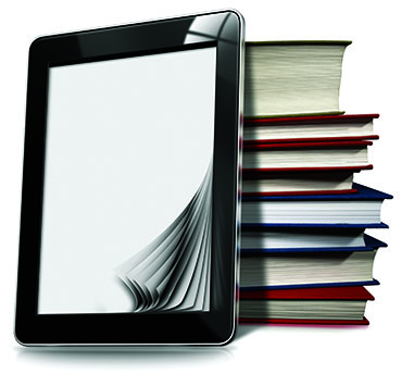 Digitial Library iPad with Stack of Books