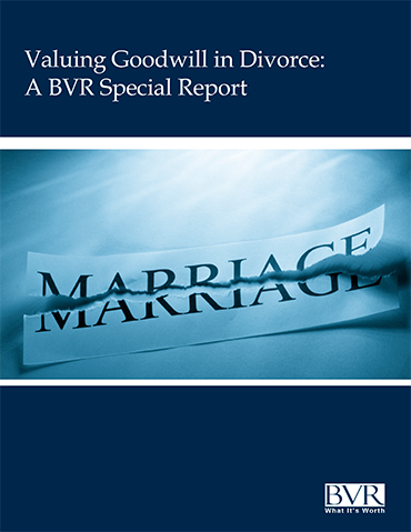 Goodwill in Divorce Special Report