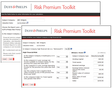 Valuation Handbook Risk Premium Toolkit Screenshots